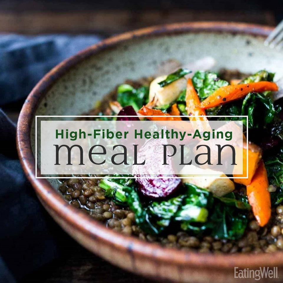 High-Fiber Healthy-Aging Meal Plan, lentils in a bowl with roasted veggies.