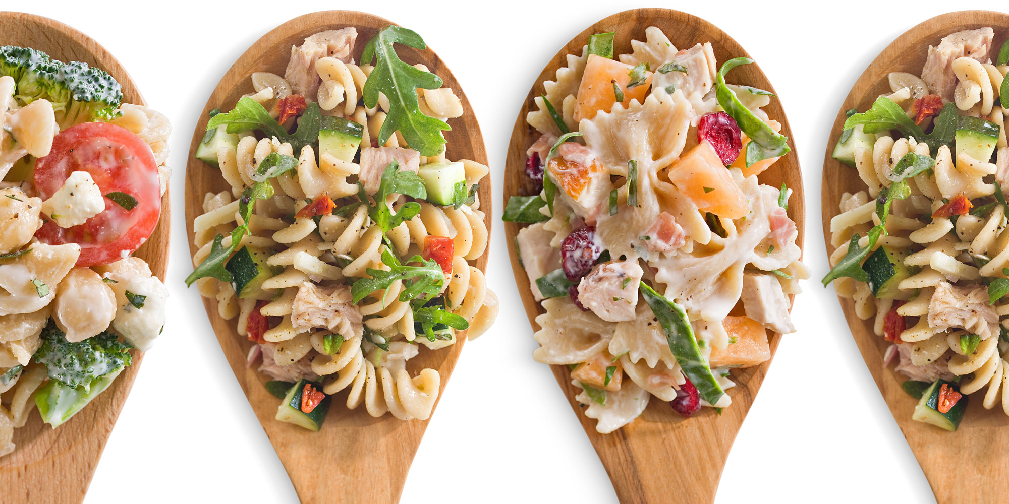 pasta salad combos on a spoon