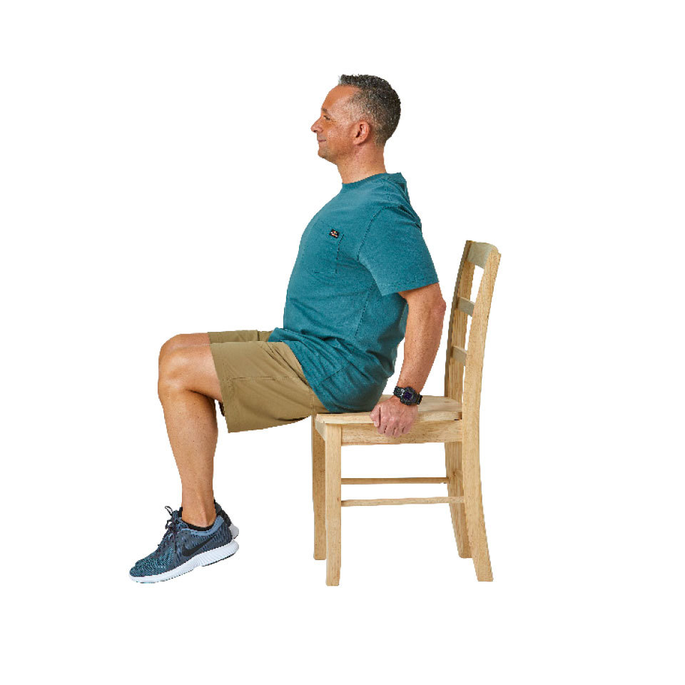 Seated knee lift A