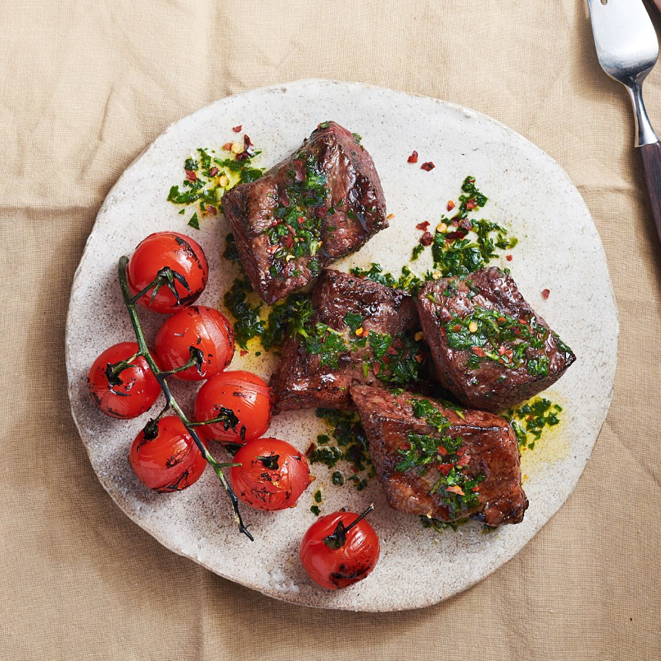 Grilled Short Ribs & Cherry Tomatoes with Chimichurri
