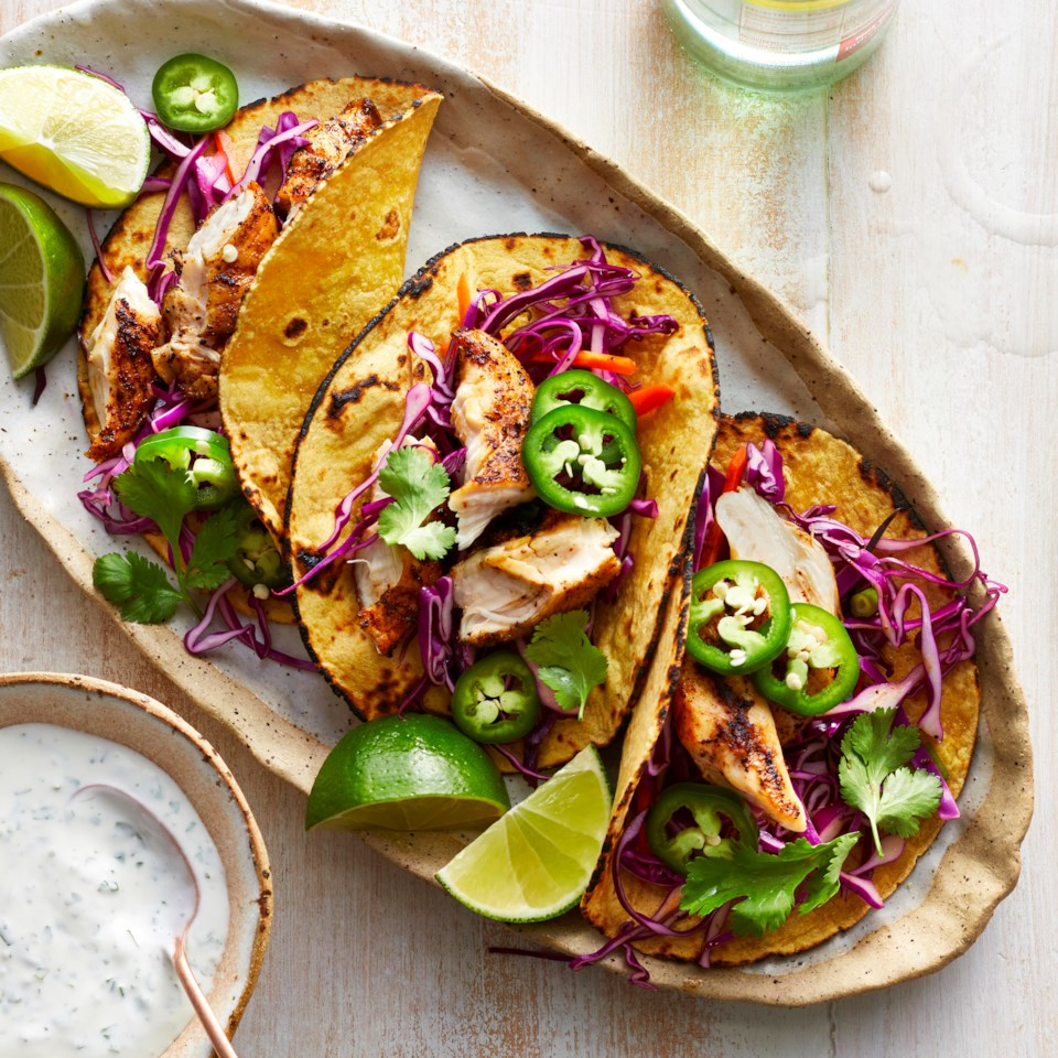 grilled chicken tacos with slaw
