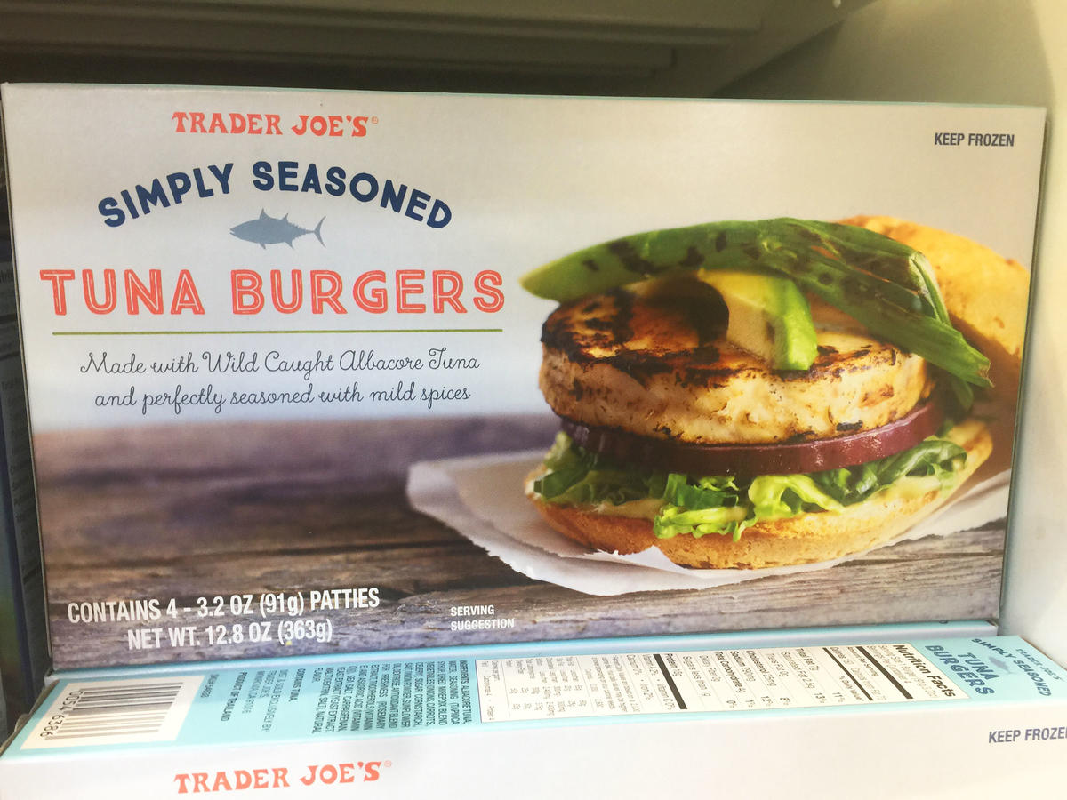 box of frozen tuna burgers