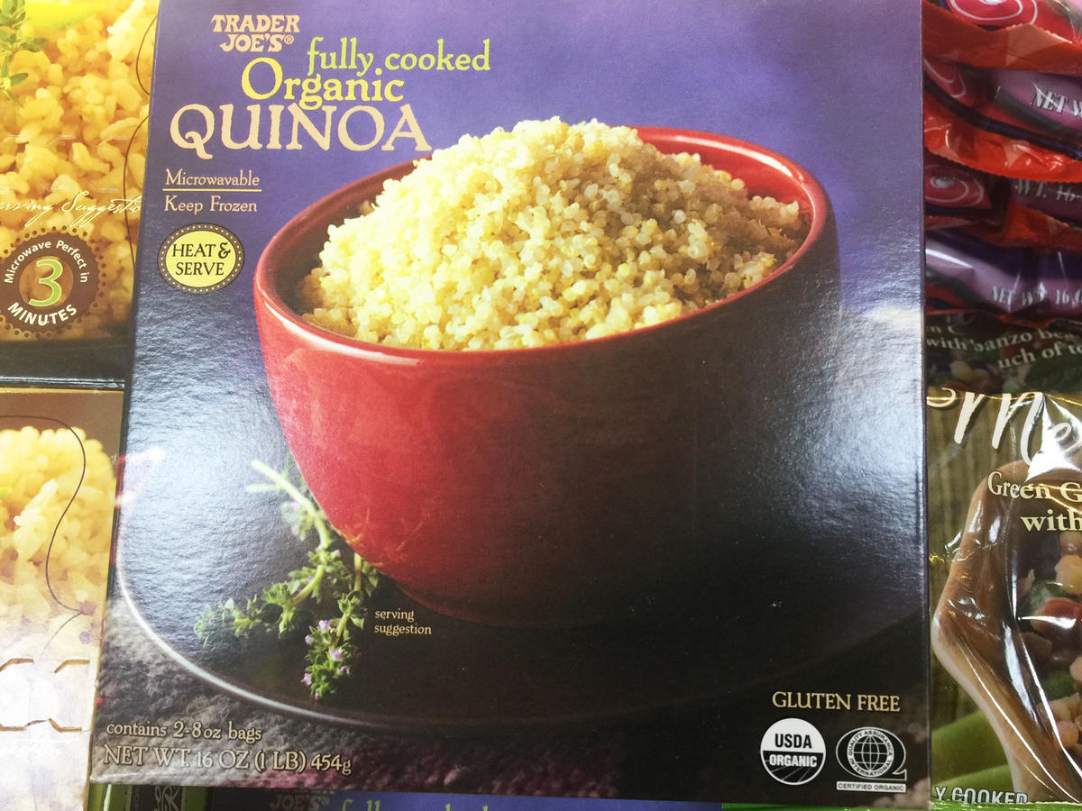 box of cooked organic quinoa