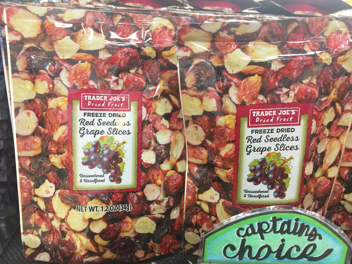 bags of freeze dried red seedless grapes