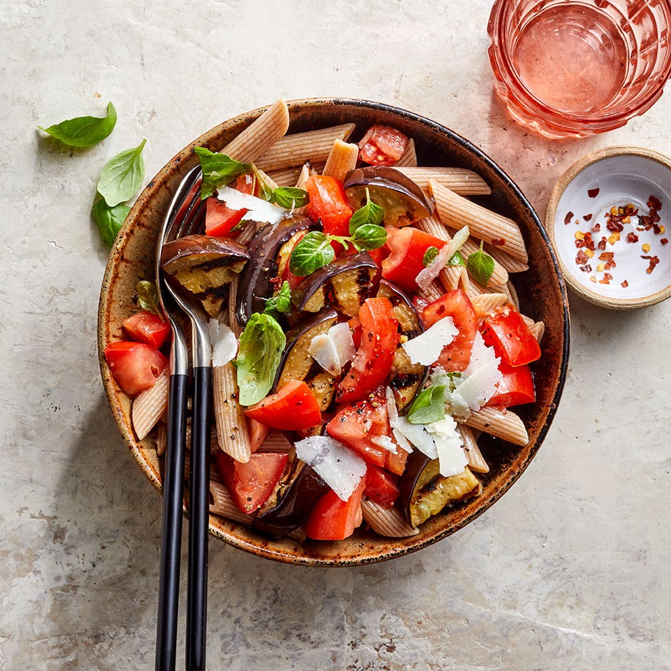grilled eggplant pasta in a bowl
