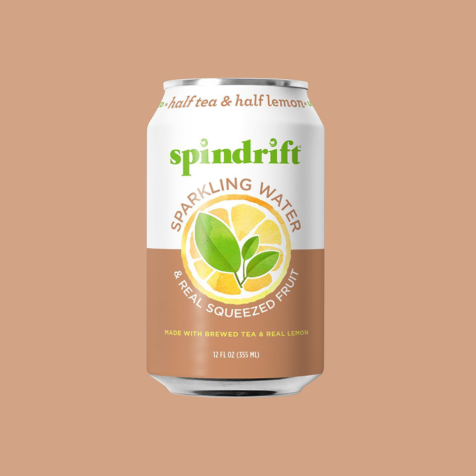 spindrift half and half on brown background