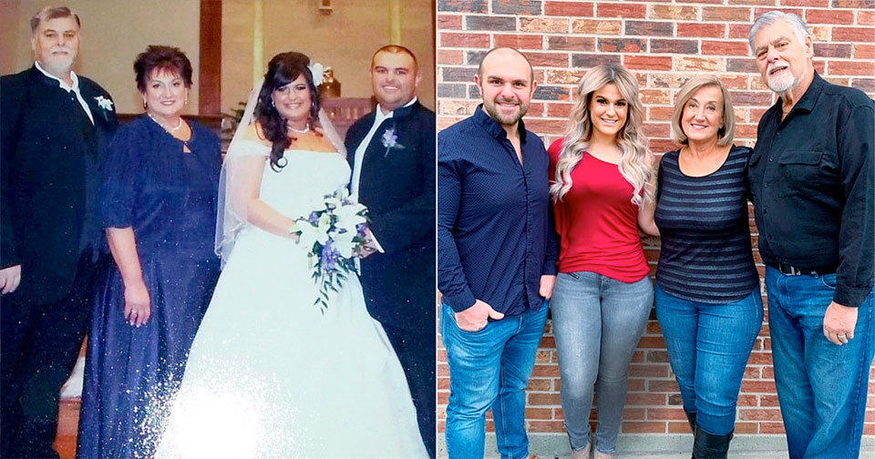 Sarah Bentley and her family before and after weight loss