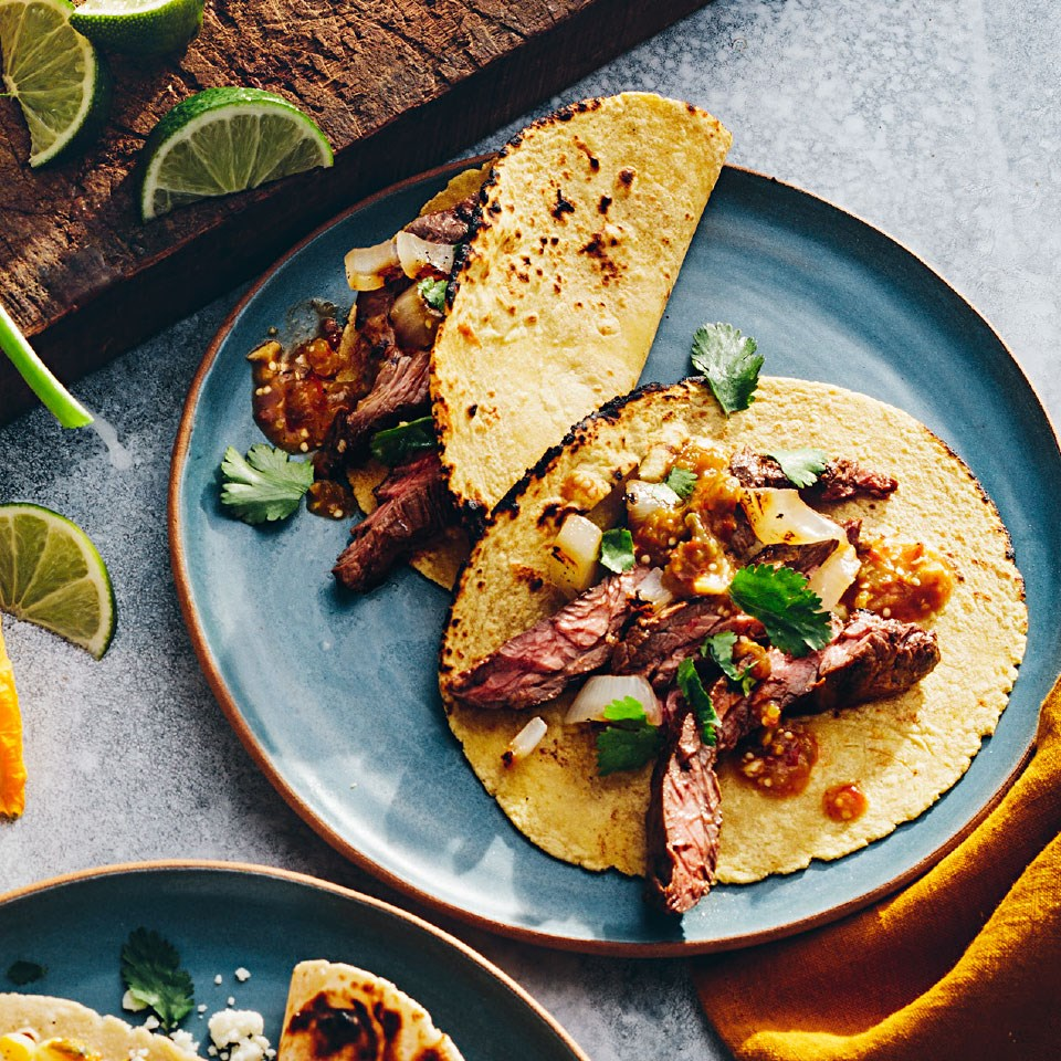 Chipotle Skirt Steak Tacos with Smoky Tomatillo Salsa