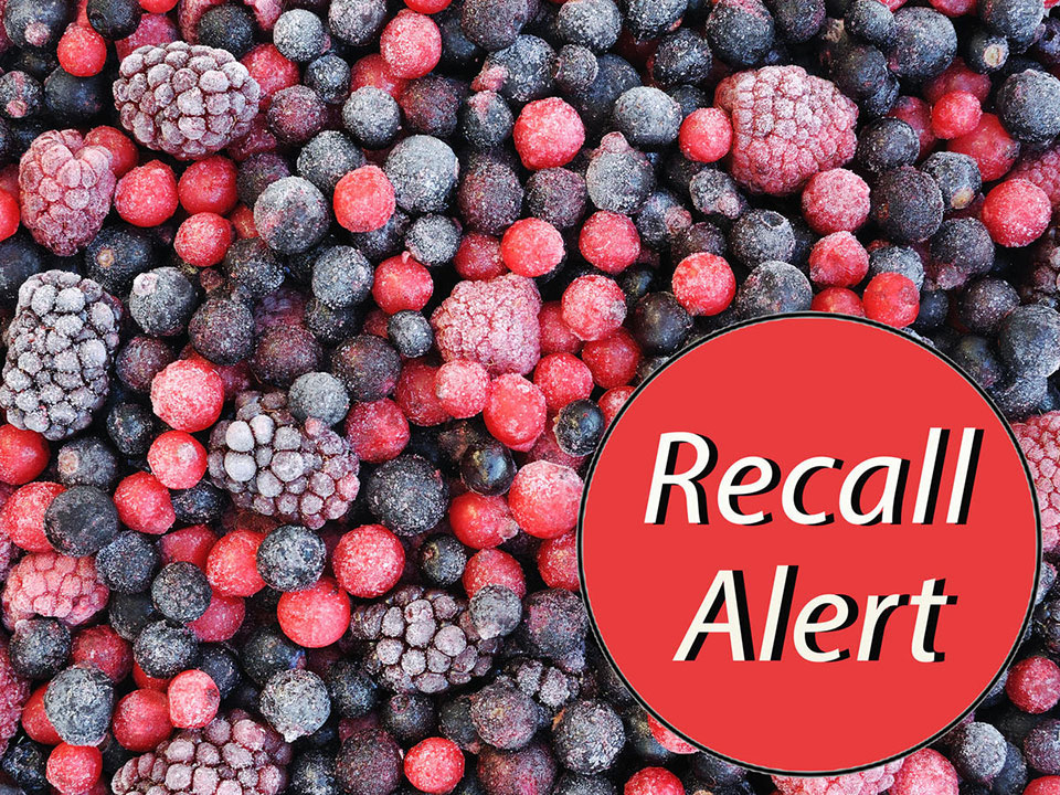 Frozen Berries with a red Recall Alert sticker