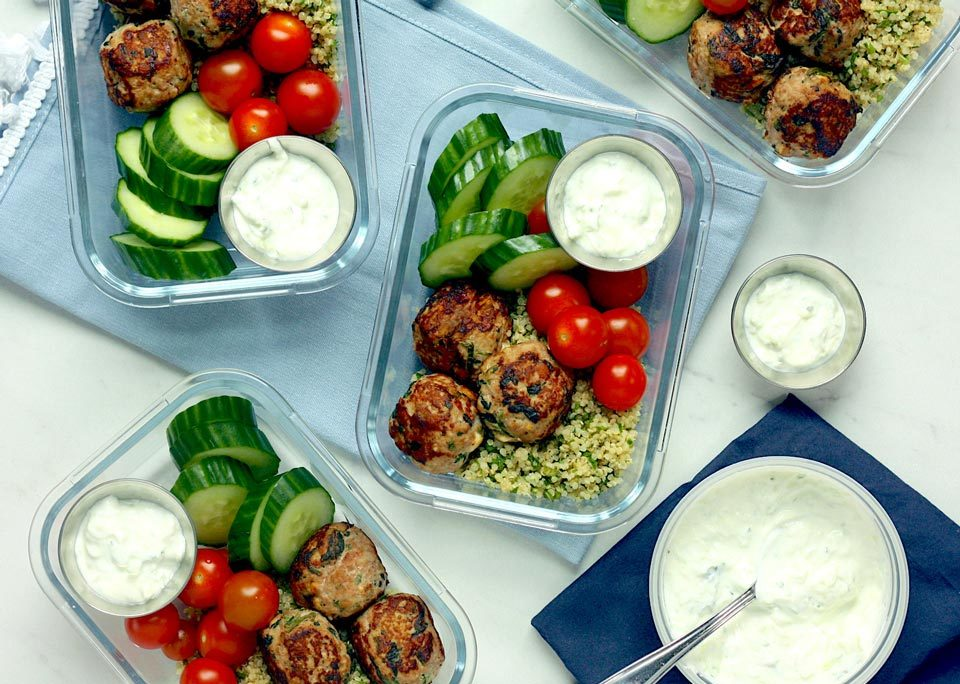 greek turkey meatball bowl