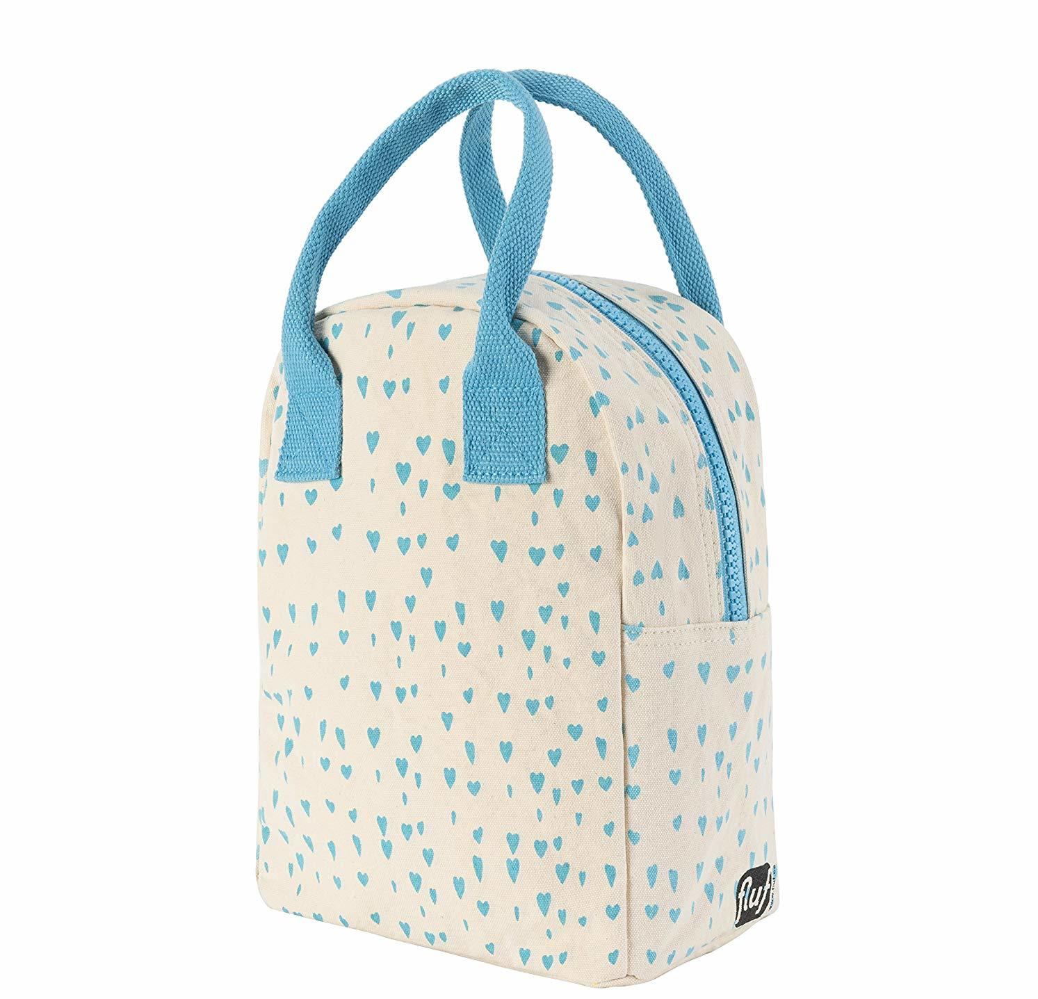 Flufl Blue Hearts Lunch Box cream canvas with light blue hearts pattern and light blue handle on white background