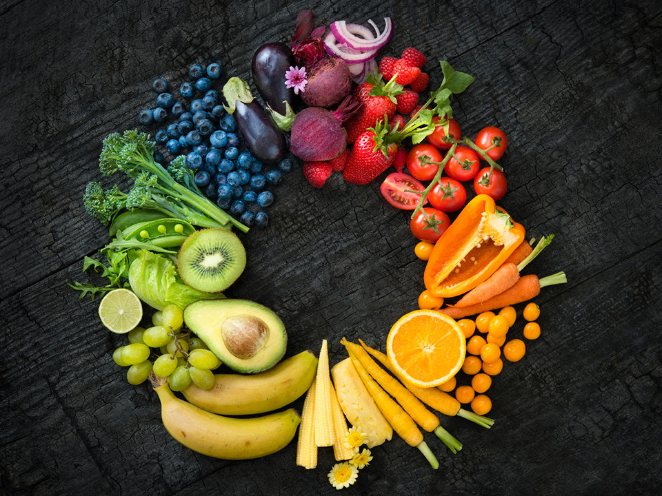 wreath of colorful fruits and vegetables
