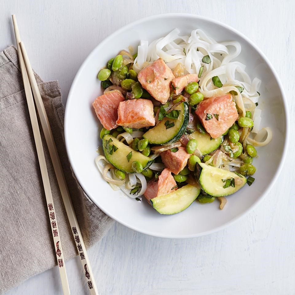 Edamame & Salmon Stir-Fry with Miso Butter