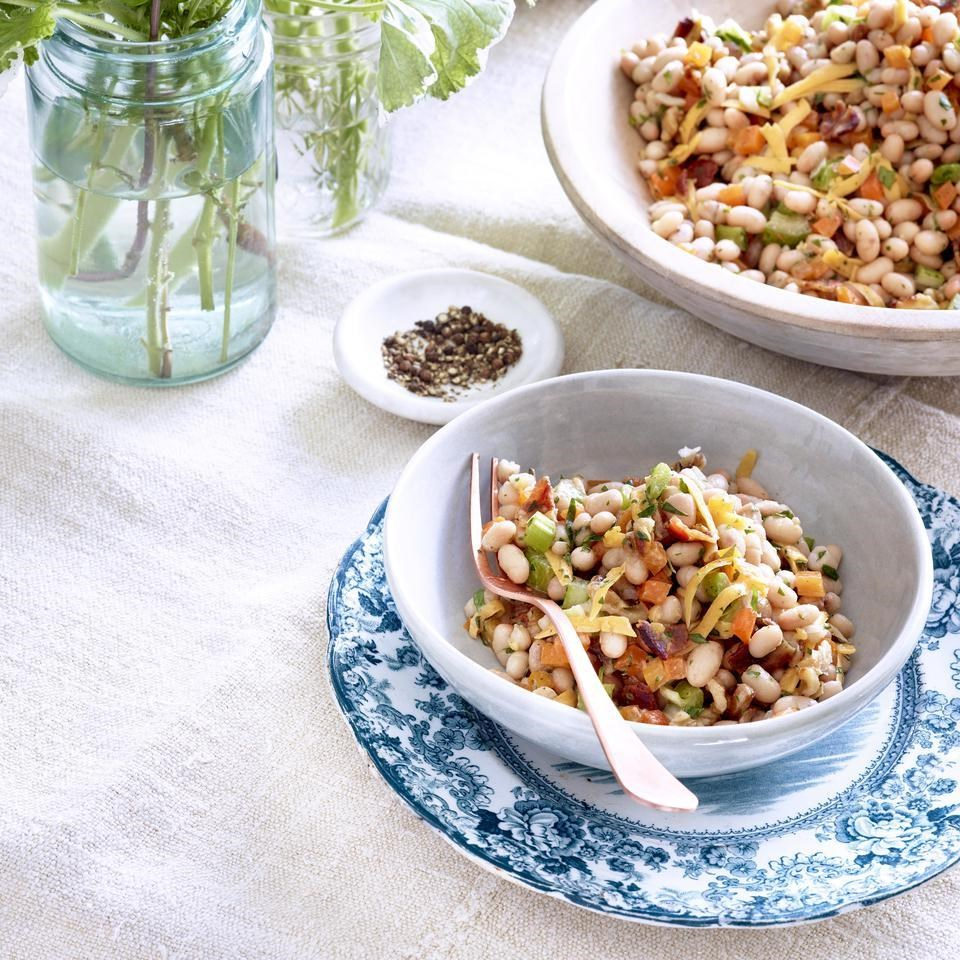 White Bean Salad with Cheddar, Bacon & Walnuts