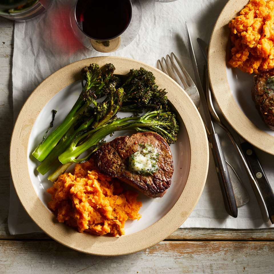 Filet Mignon for Two with Sweet Potato Mash