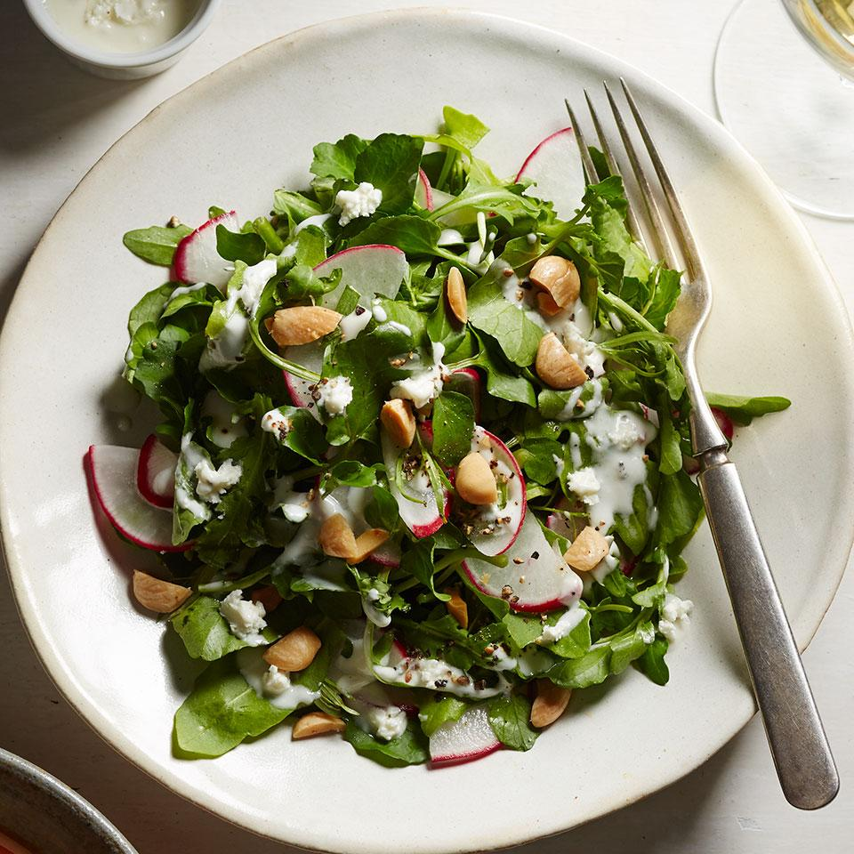 Radish, Watercress & Arugula Salad with Feta Vinaigrette