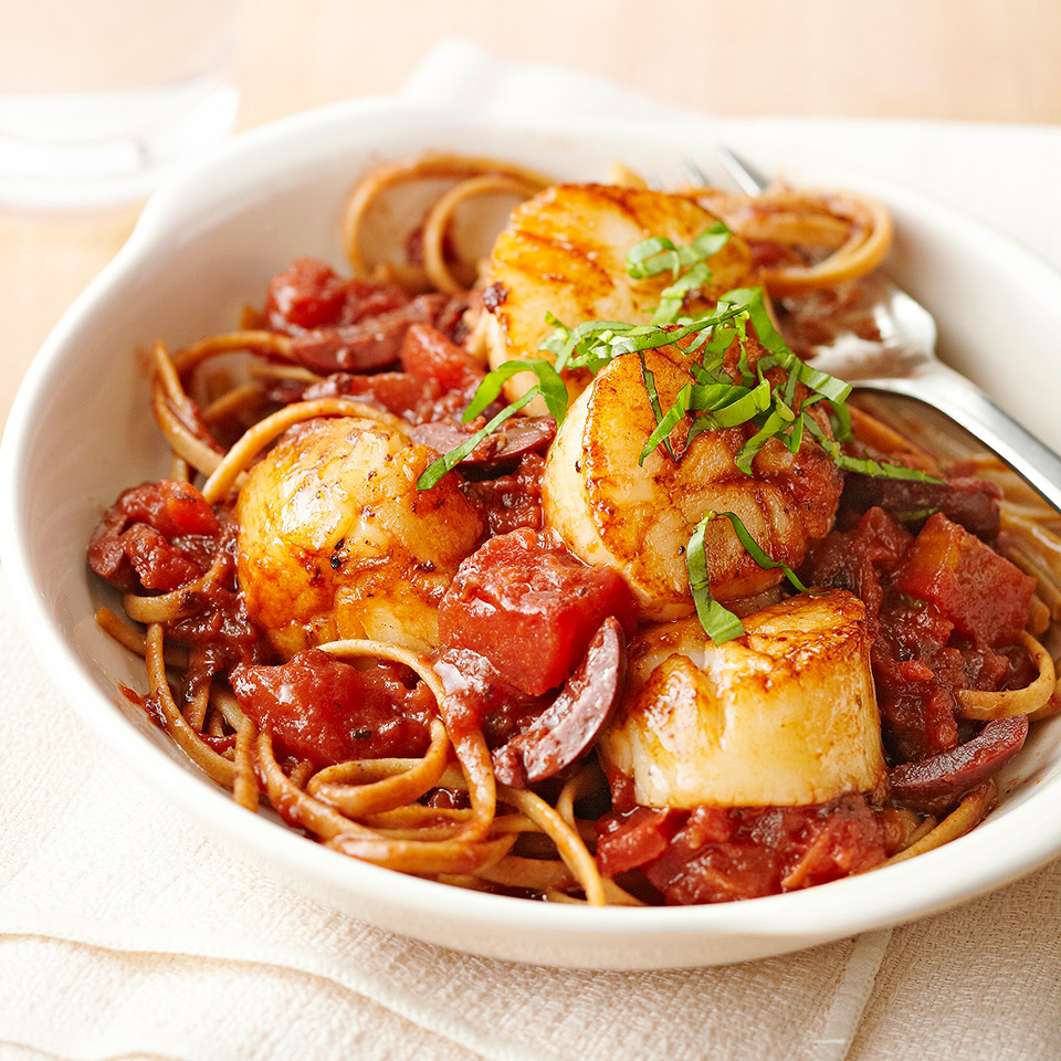 Pan-Seared Scallops with Tomato, Olives, and Fresh Basil