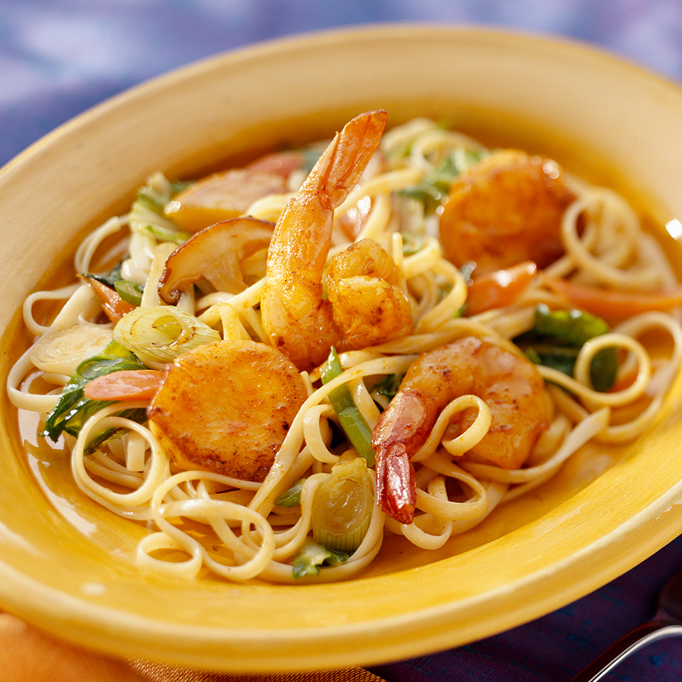 Curried Seafood with Linguine