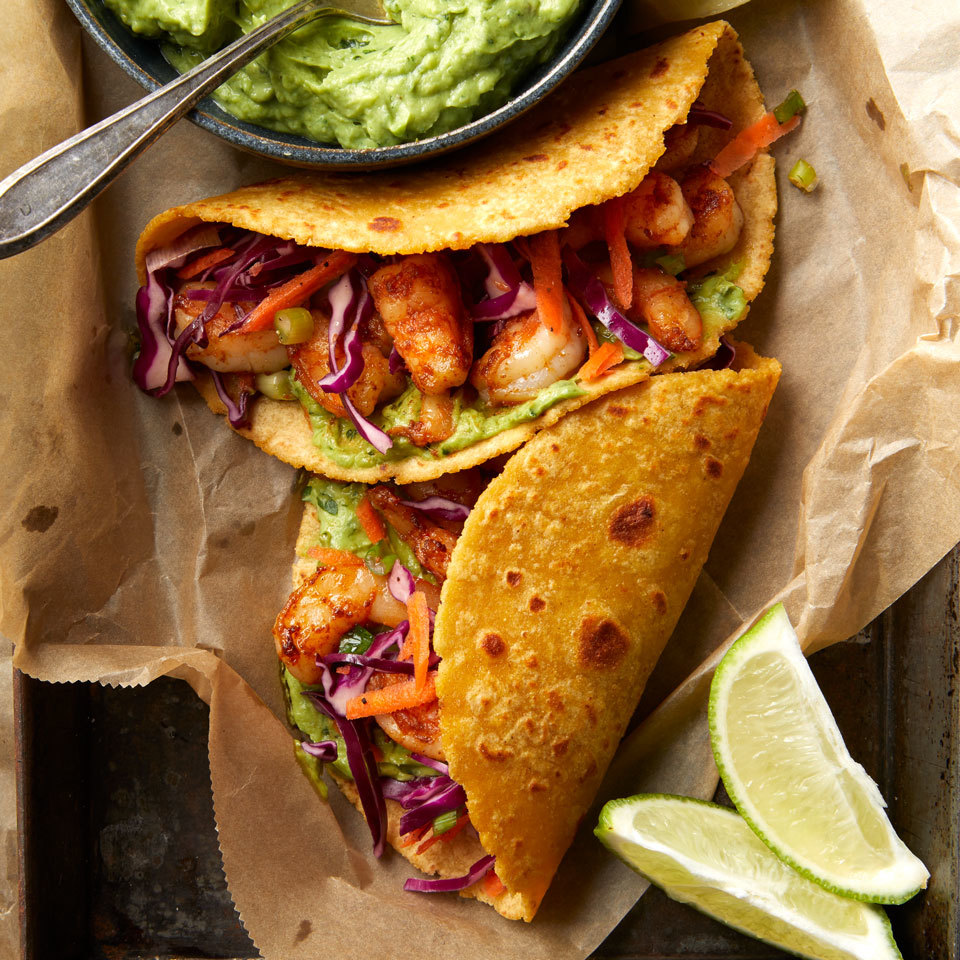 Shrimp Tacos with Avocado Crema