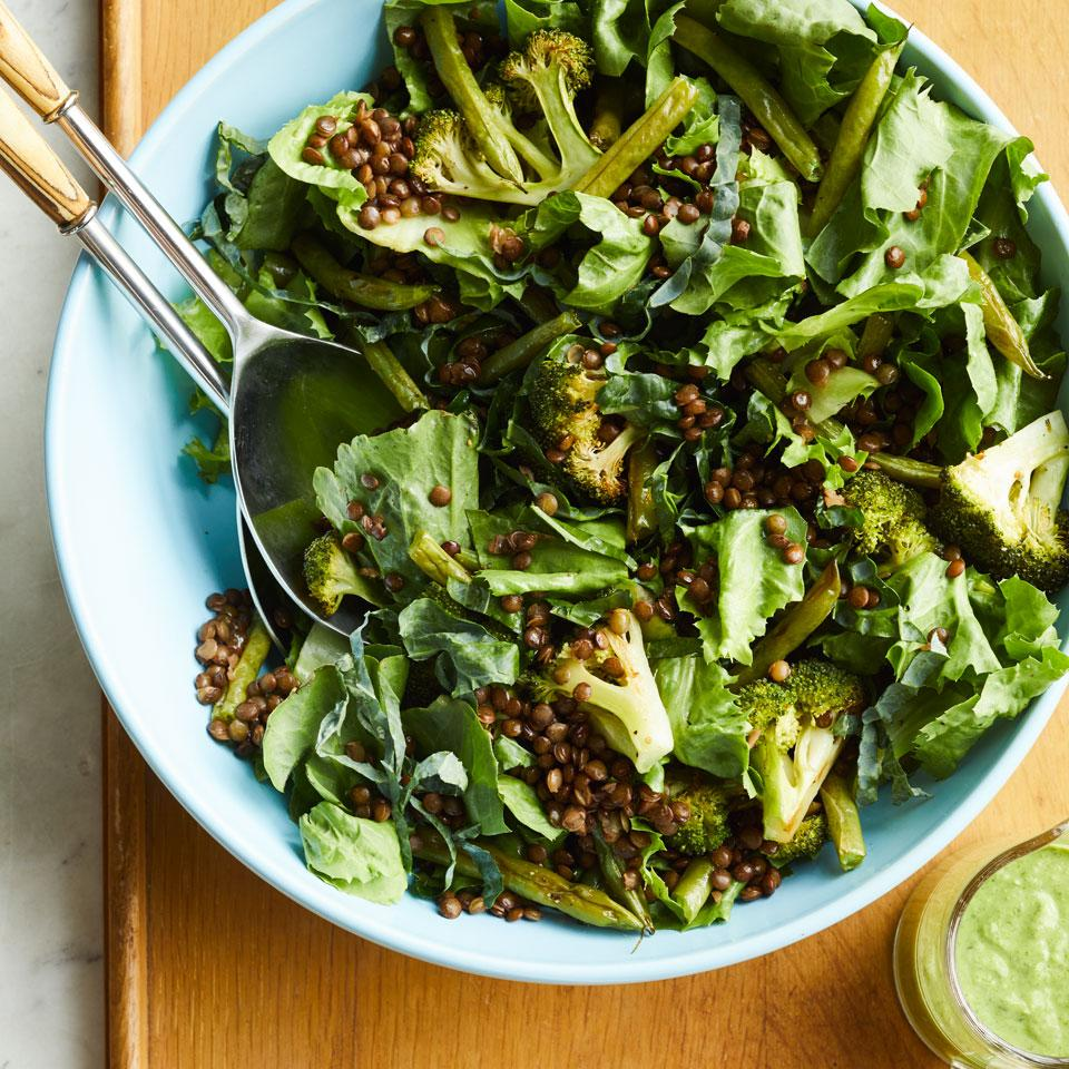 Lentil & Roasted Vegetable Salad with Green Goddess Dressing