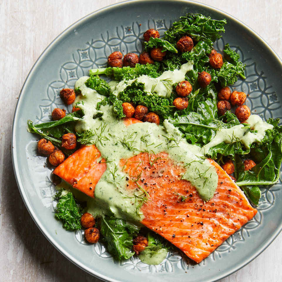 Roasted Salmon with Smoky Chickpeas & Greens