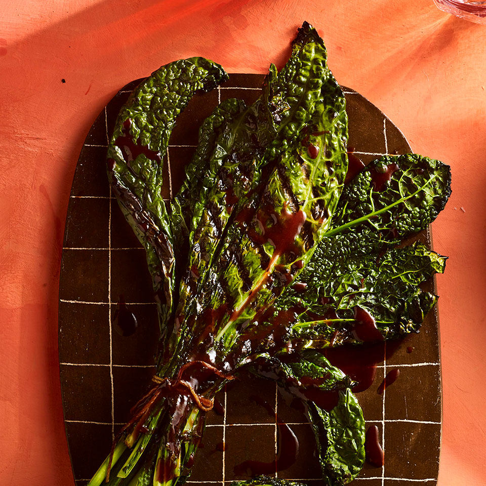 Grilled Kale Bundles with Sour Cherry-Chipotle Drizzle