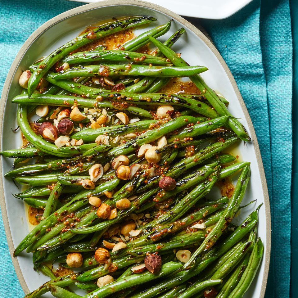 Charred Green Beans with Mustard Vinaigrette & Hazelnuts