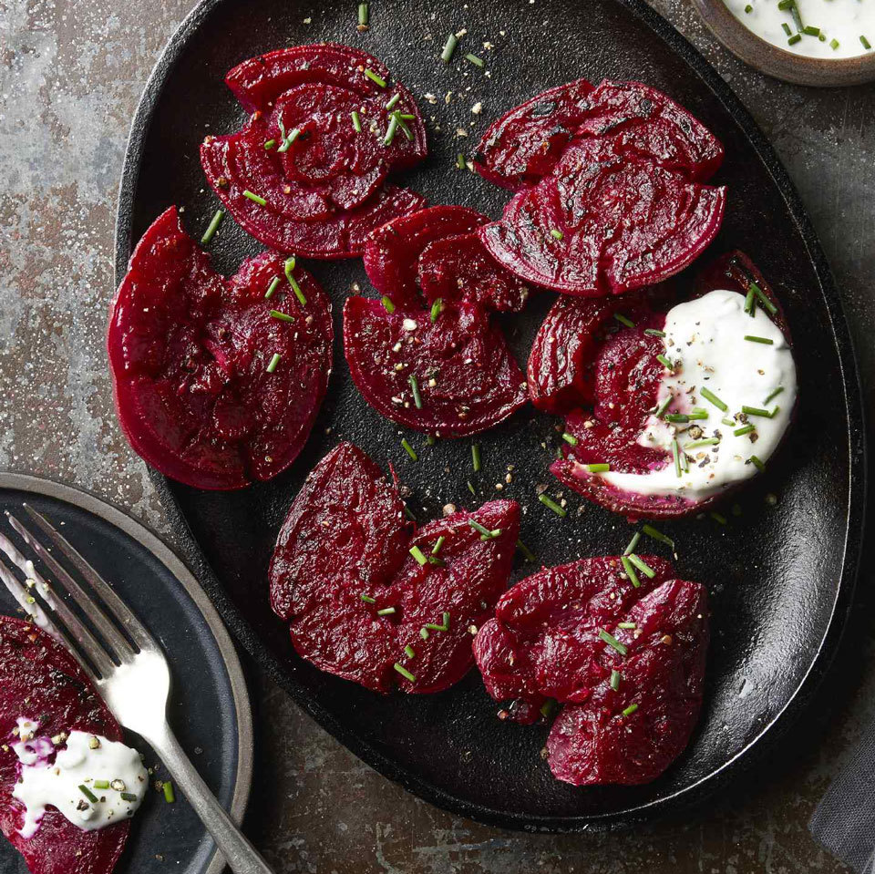 Crispy Smashed Beets with Goat Cheese