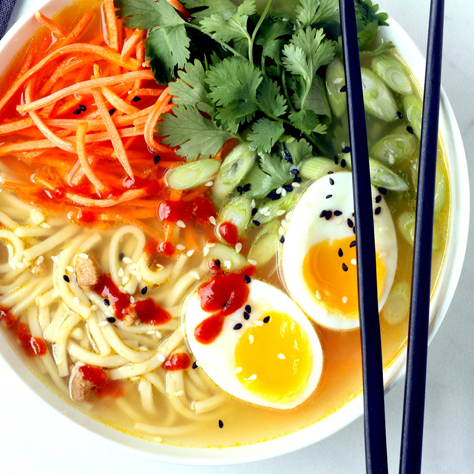 Homemade Chicken Ramen Noodle Bowls