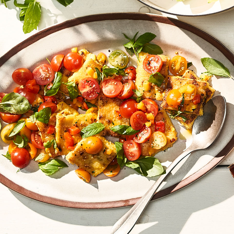 Sweet Corn Polenta with Bell Pepper & Tomato Salad
