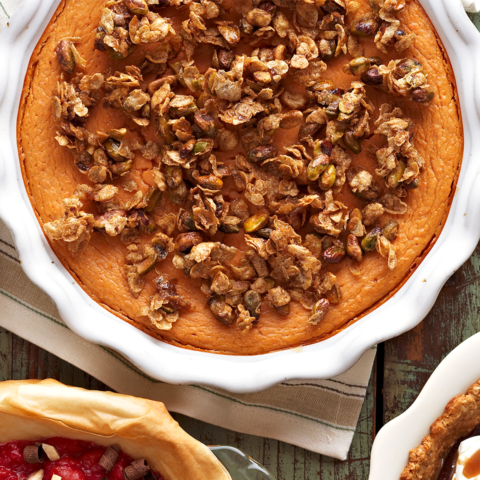 Crustless Pistachio-Topped Sweet Potato Pie
