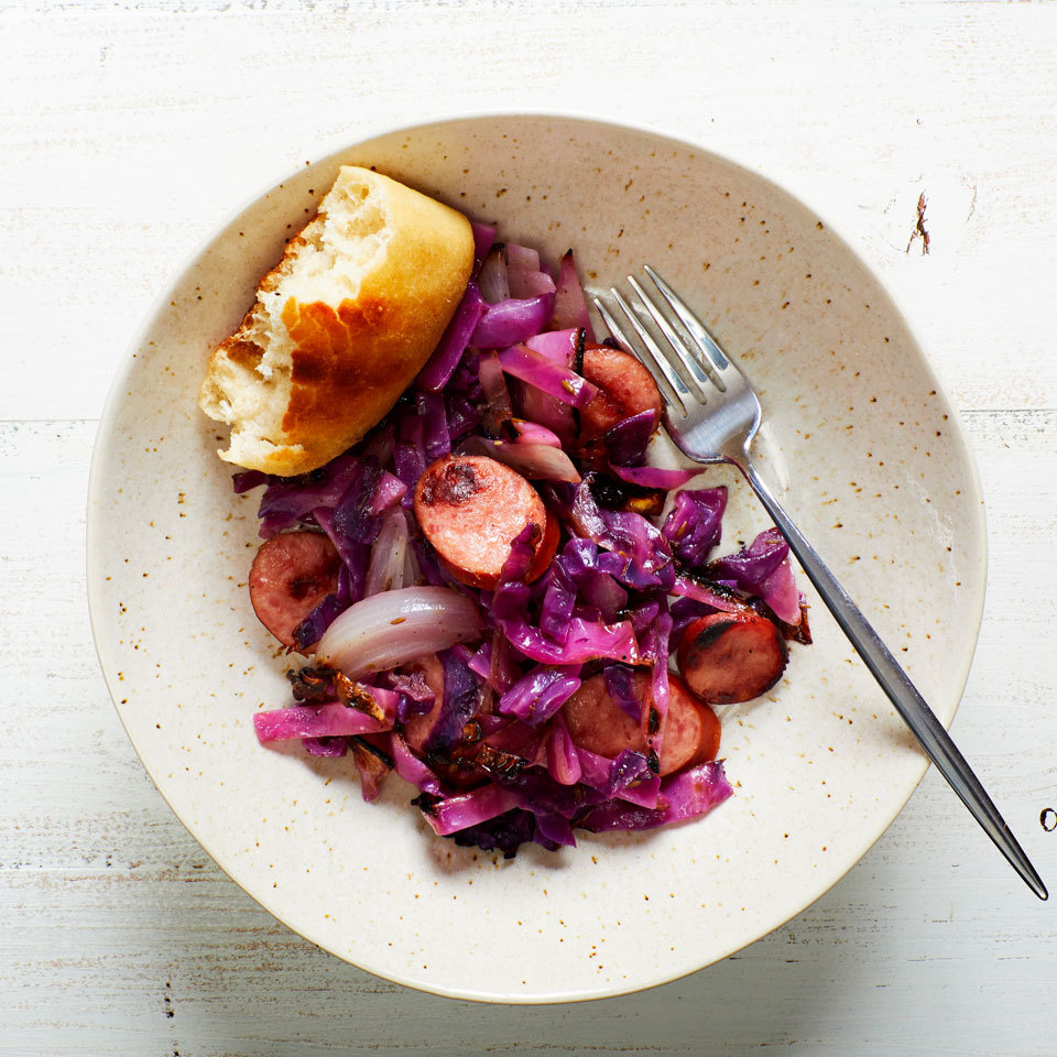 Cabbage & Smoked Sausage Grill Packets with Caraway