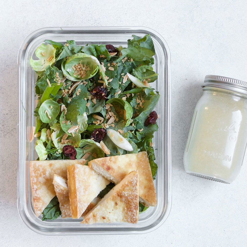 Power Greens Salad with Baked Tofu & Honey-Mustard Vinaigrette