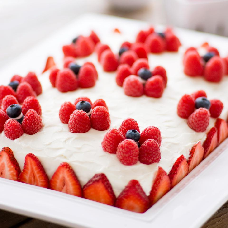 Yellow Sheet Cake with Cream Cheese Frosting & Berries