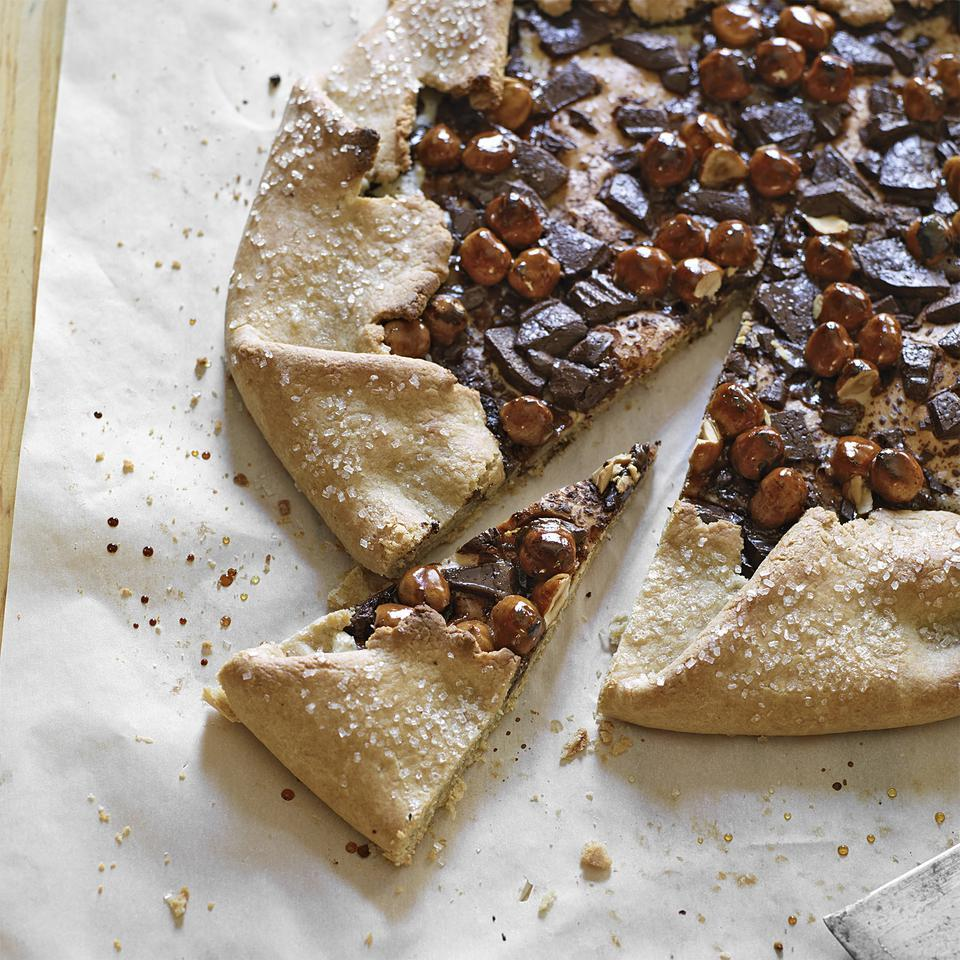 Chocolate-Almond Galette with Caramel Hazelnuts