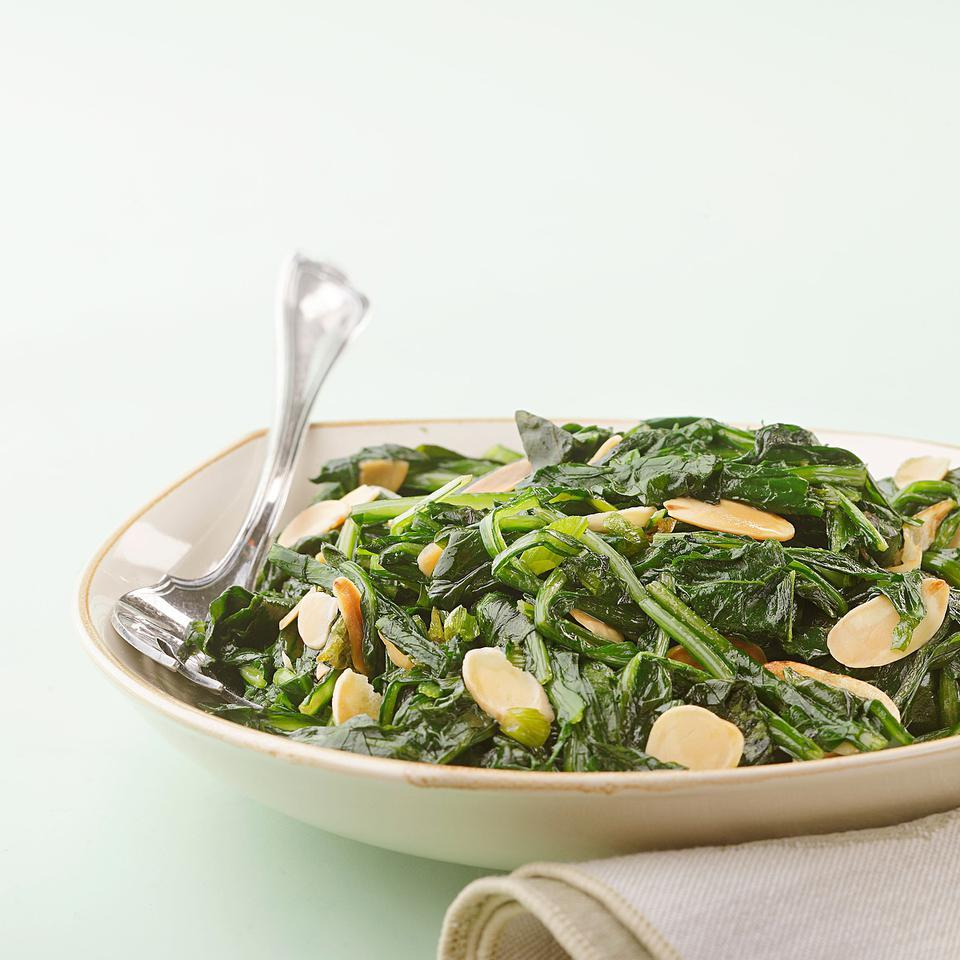 Dandelion Greens with Toasted Garlic & Almonds