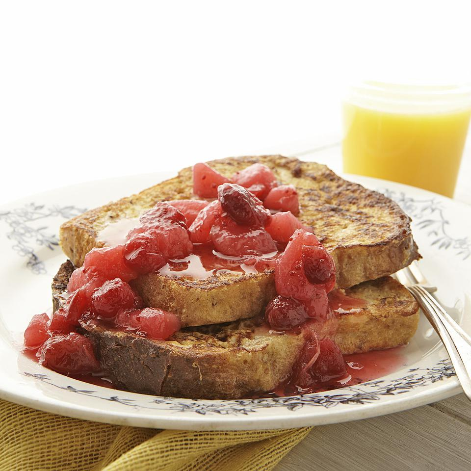 French Toast with Pear-Cranberry Compote