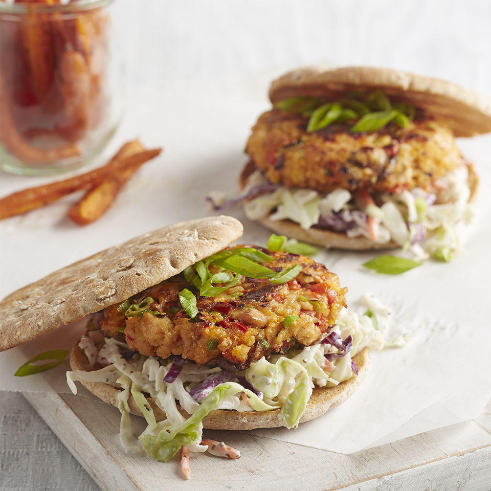 Salmon Burgers with Coleslaw and Roasted Carrots