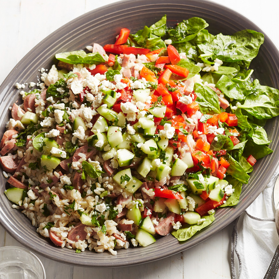 Spinach-Feta Rice Salad with Chicken Sausage