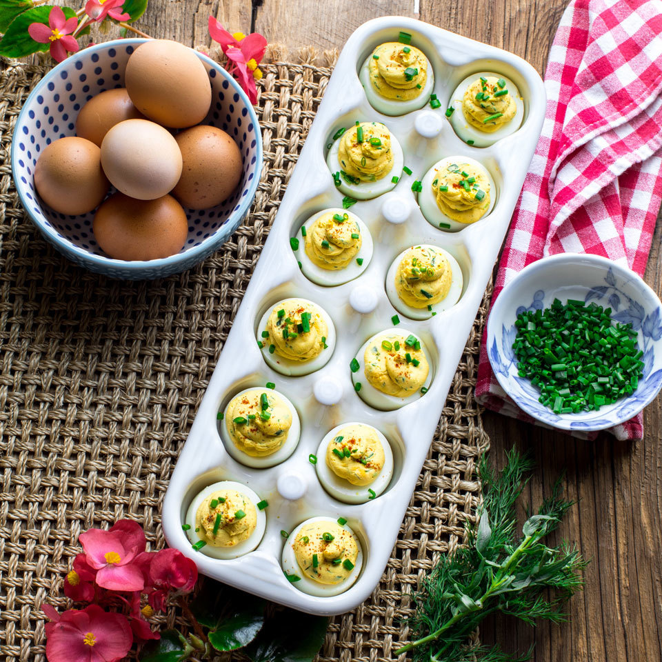 Picnic Deviled Eggs with Fresh Herbs