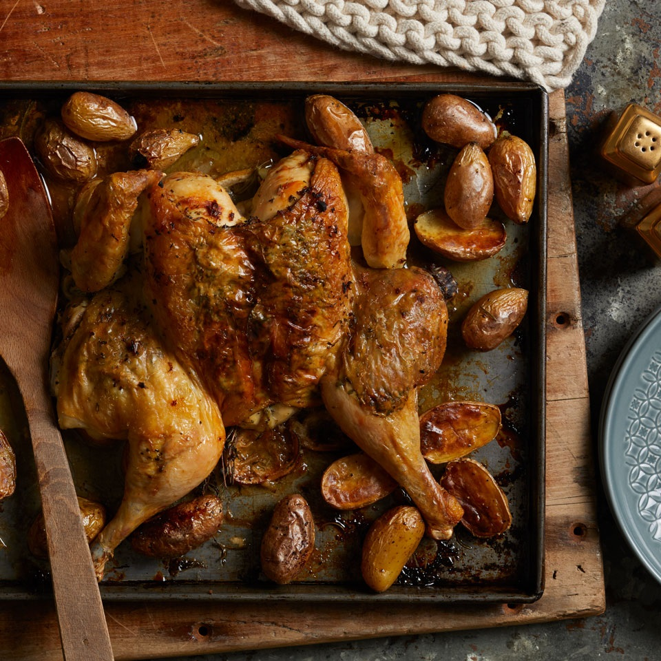 Lemon-Herb Roasted Spatchcock Chicken & Potatoes