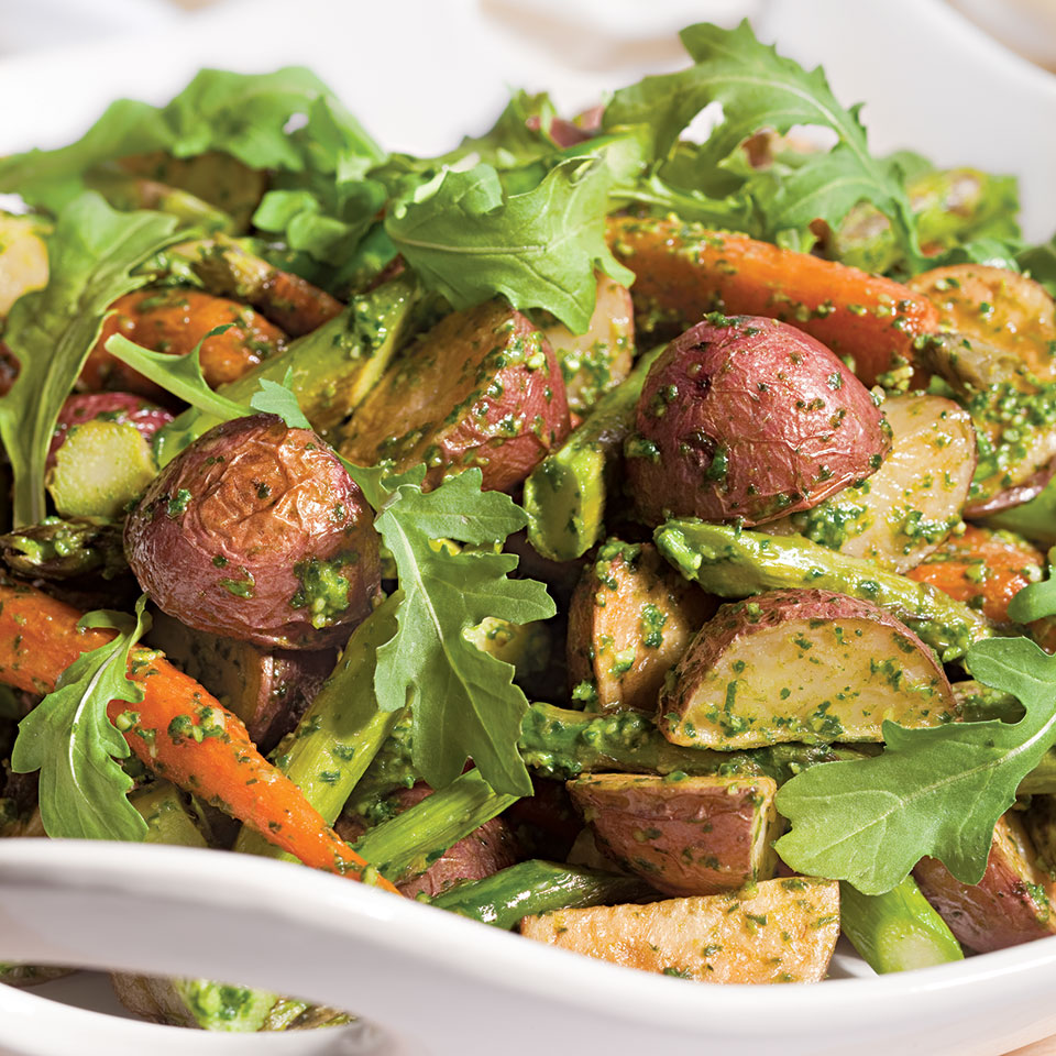 Roasted Spring Vegetables with Arugula Pesto