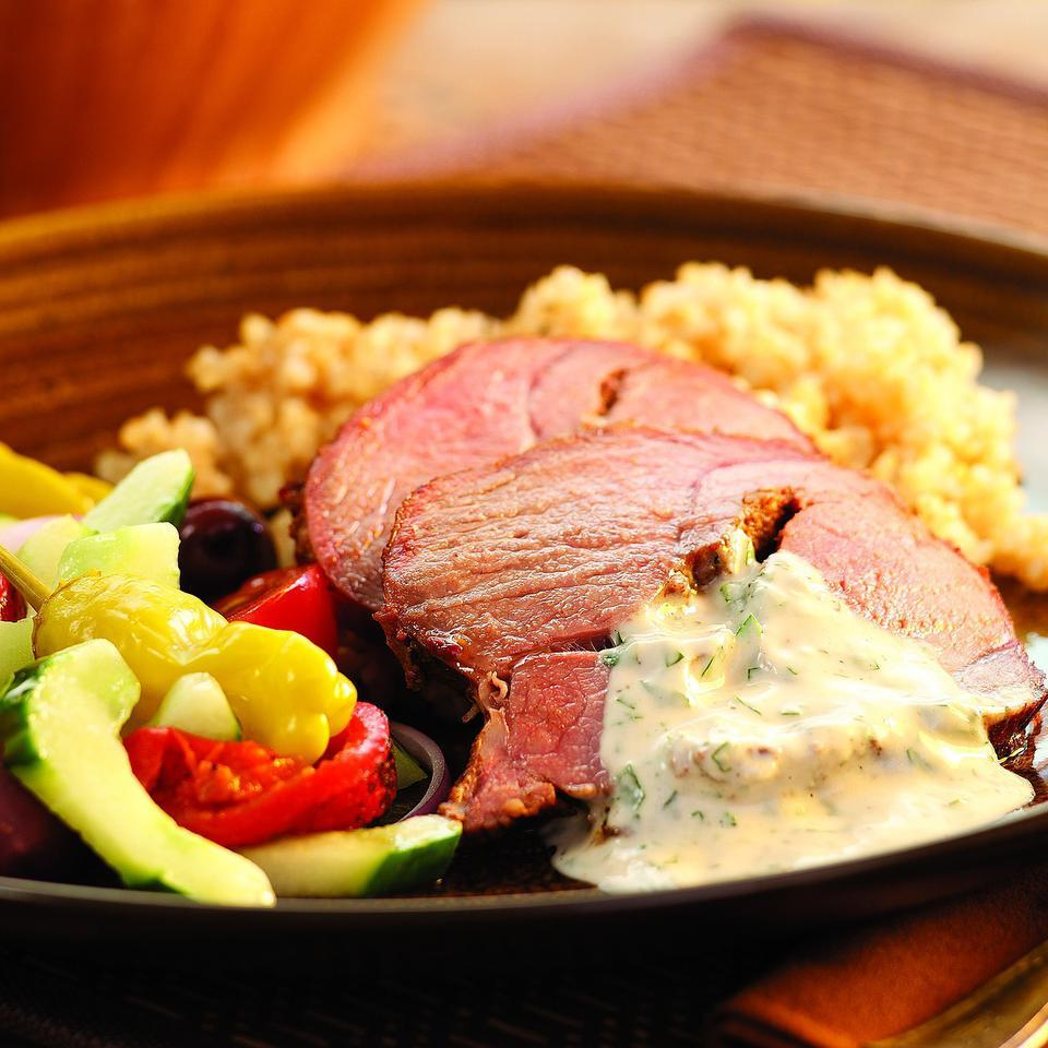 Middle Eastern Roast Lamb with Tahini Sauce