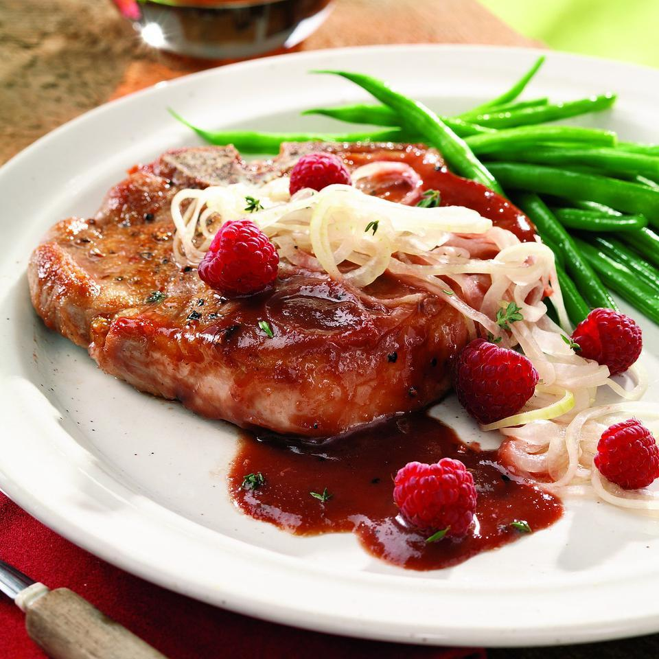 Raspberry-Glazed Pork Chops with Pickled Onions