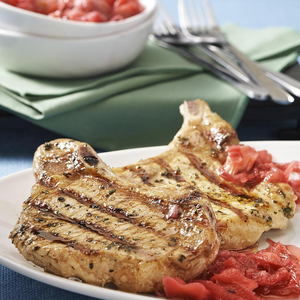 Pork Chops with Quick Rhubarb Sauce