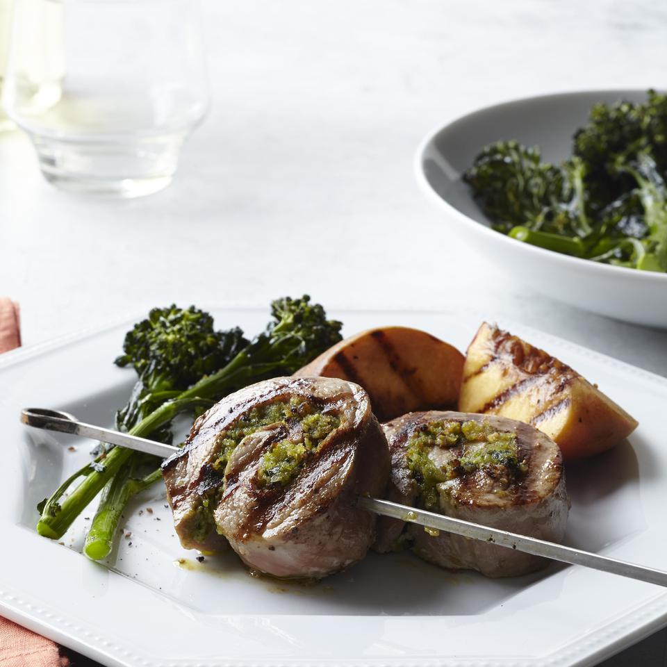 Pesto-Pork Pinwheels with Grilled Peaches