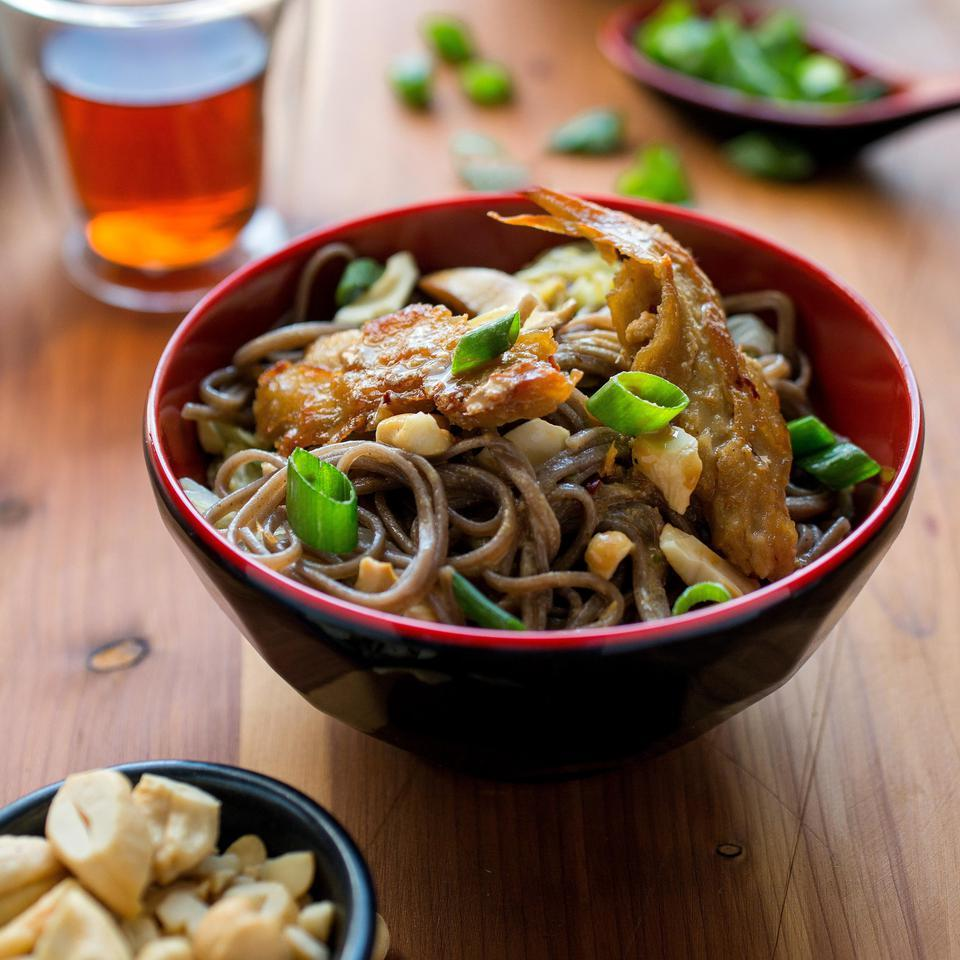 Dan Dan Noodles with Seitan, Shiitake Mushrooms & Napa Cabbage