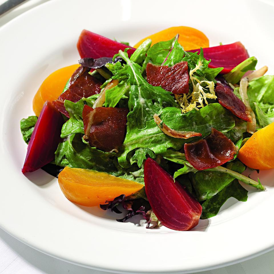 Spring Salad with Beets, Prosciutto & Creamy Onion Dressing