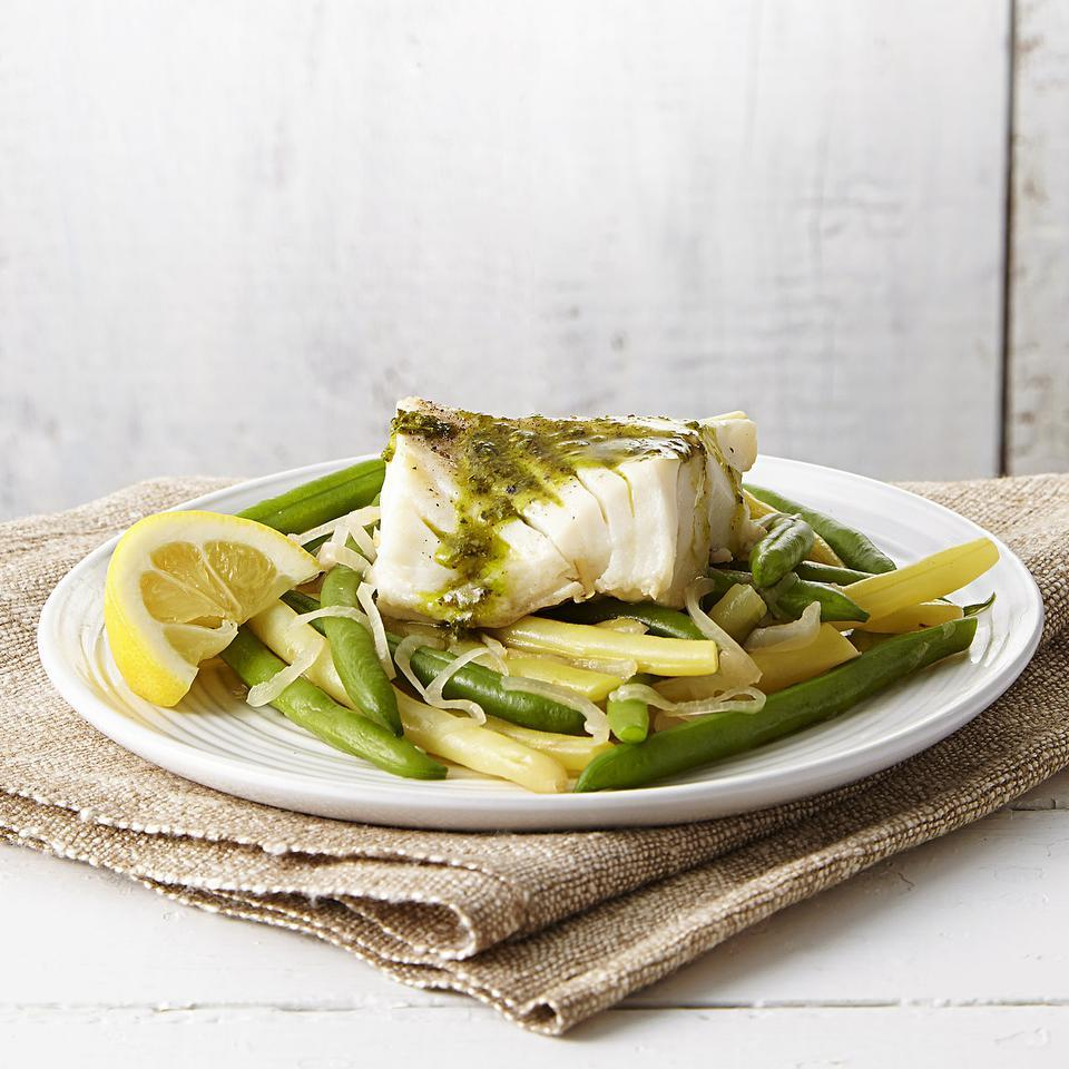 Poached Cod & Green Beans with Pesto