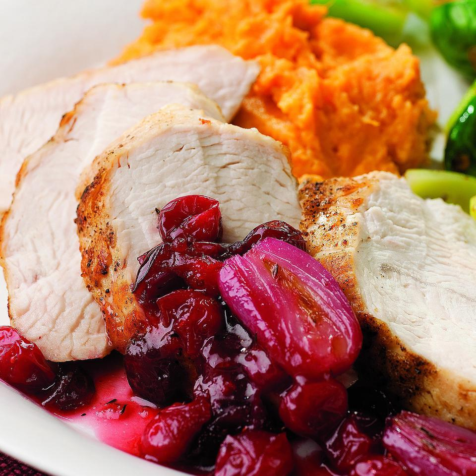 Turkey Tenderloin With Cranberry Shallot Sauce Recipe Eatingwell